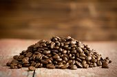 the heap of roasted coffee beans
