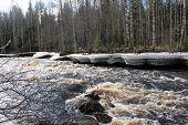 Spring in Karelia. River name Uksun.