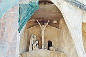 Barcelona. Fragment Of Temple Of Sagrada Familia. Facade Of The Passion