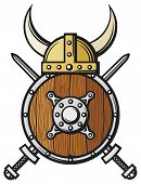 foto of crossed swords  - viking helmet shield and crossed swords vector illustration - JPG