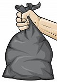hand holding black plastic trash bag