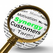 Synergy Magnifier Definition Means Team Work And Cooperation