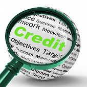 Credit Magnifier Definition Shows Cashless Purchases Or Financia