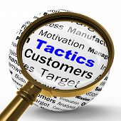 Tactics Magnifier Definition Shows Management Plan Or Strategy