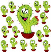 image of spiky plants  - cactus plant vector illustration with many facial expression - JPG