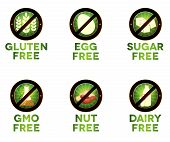 image of wheat-free  - Colorful diet icons food intolerance such as gluten free sugar free nut free GMO free egg free dairy free - JPG