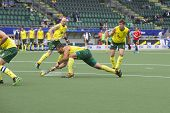 THE HAGUE, NETHERLANDS - JUNE 2: Australian Turner is shooting the ball in the direction of the goal