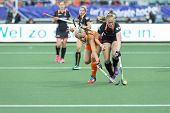 THE HAGUE, NETHERLANDS - JUNE 2: Jacky Schoenmaker (Netherlands, left), challenges Jill Boon (Belgiu