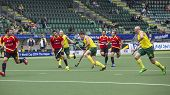 THE HAGUE, NETHERLANDS - JUNE 2: Australian Orchard is passing the Spanish defence during the Hockey World Cup 2014 in the preliminary match between Australia and Spain (men). AUS beats SPA 3-0