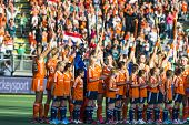THE HAGUE, NETHERLANDS - JUNE 2 2014: The Dutch women field hockey team cheers back at the fans at t