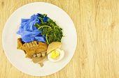 Blue Rice Noodle Gravy Vegetarian Wood Background