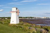 A range light or lighthouse facing south on Summerside Harbor, Prince Edward Island, Canada.