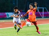 Sisaket Thailand-may 28: Chonlatit Chantakam Of Chonburi Fc. (white) In Action During Thai Premier L