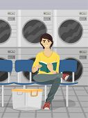 Illustration of a Male Teen Reading a Book While Waiting for His Laundry