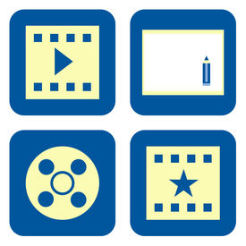 picture of storyboard  - Movie video production icon set isolated on white background - JPG