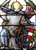 Medieval stained glass armorial window
