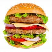 stock photo of burger  - Big beautiful juicy burger with meat and vegetables - JPG
