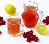 Hot Drink With A Guelder-rose And A Lemon