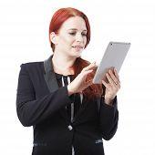 Redhead Businesswoman Surfing The Internet