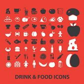 drink, food icons, signs, illustrations set, vector
