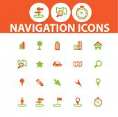 navigation, map, route icons, signs, illustrations set, vector