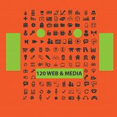 120 web media icons, signs, illustrations set, vector