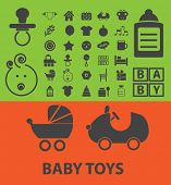 baby icons, signs, illustrations set, vector