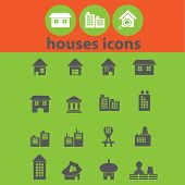 house, building, real estate icons, signs, illustrations set, vector