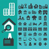house, city, real estate icons, vector