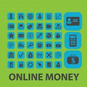 online money, payment, cash icons, signs, illustrations set, vector