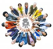 Diverse People with Togetherness and Technology Concepts