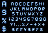 Alphabet, Numbers, Currency And Symbols Pack, Rectangular Bent Blue Metal Font