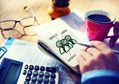 Office Writing Working Team Goals Ideas Support  Concept