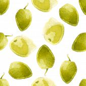 bright watercolor olives seamless pattern