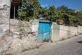 blue wooden door in Bakhchisarai Crimea