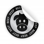 Vector Beef Meat Bent Sticker