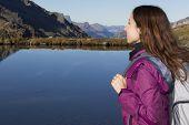 Hiker Woman Watching The Mountain Landscape