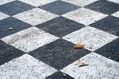 chess board painted on the asphalt ground