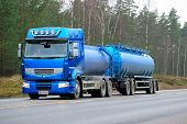 Blue Renault Premium 460 Tank Truck On The Road