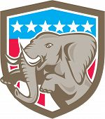 Elephant Prancing Stars Shield Retro