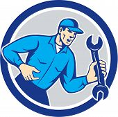 Mechanic Shouting Holding Spanner Wrench Circle Retro