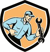 Mechanic Shouting Holding Spanner Wrench Shield Retro