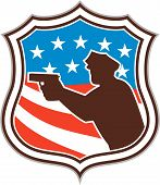 Policeman Silhouette Pointing Gun Flag Shield Retro