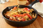 foto of poblano  - Grilled chicken asada wiht poblanos red peppers and onions - JPG