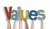 Values word and Brick Wall in the Background