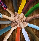 Group of Multiethnic Diverse Hands Together