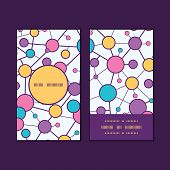 Vector molecular structure vertical round frame pattern business cards set