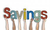 Multiethnic Group of Hands Holding Word Savings