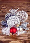 Christmas balls with tinsel and snow