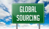 Global Sourcing on Highway Signpost.